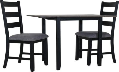 Elements Int'l Group Martin Black 3-Piece Drop Leaf Table Set