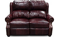 England Lucia Burgundy 100% Leather Power Loveseat