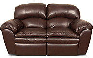 England Oakland Brown Leather Reclining Loveseat