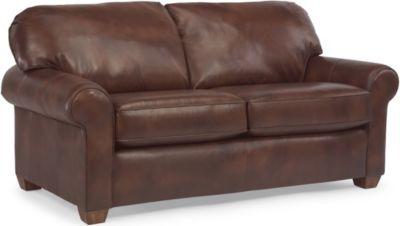 Flexsteel Thornton 100% Leather Full Sleeper Sofa