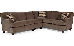 Flexsteel Dempsey Brown 3-Piece Sectional