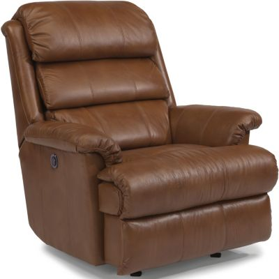 Flexsteel Yukon Mocha Leather Power Wall Recliner