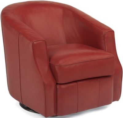 Flexsteel Moonwalk 100% Leather Swivel Barrel Chair