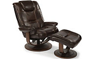Flexsteel Spencer Brown Leather Chair & Ottoman