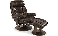 Flexsteel West Brown Leather Chair & Ottoman