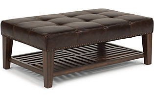 Flexsteel Port Royal Leather Cocktail Ottoman