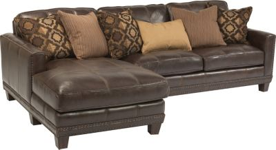 Flexsteel Port Royal Leather Chaise Sofa