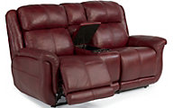 Flexsteel Brookings 100% Leather Power Console Loveseat