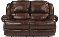 Flexsteel Capitol Brown Leather Power Reclining Loveseat