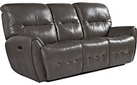 Flexsteel Blaise Gray Leather Power Reclining Sofa