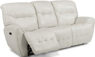 Flexsteel Blaise White Leather Power Reclining Sofa