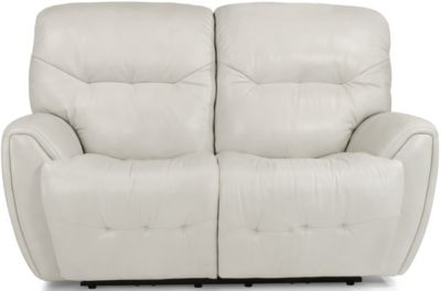Flexsteel Blaise White Leather Power Reclining Loveseat