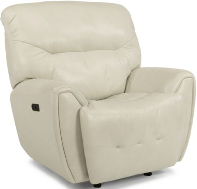 Flexsteel Blaise White Leather Power Glider Recliner