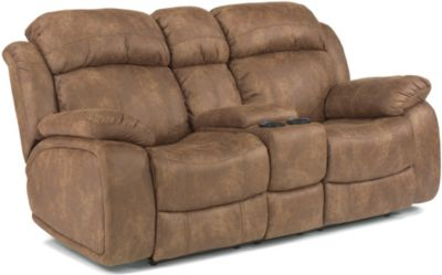 Flexsteel Como Tan Power Reclining Console Loveseat