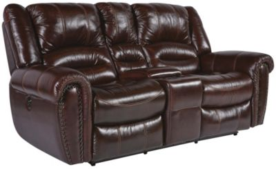 Flexsteel Crosstown Leather Gliding Reclining Loveseat