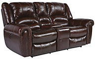 Flexsteel Crosstown Leather Power Reclining Console Loveseat