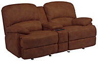 Flexsteel Dylan 100% Leather Power Recline Console Loveseat