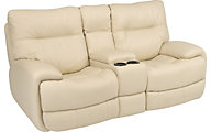 Flexsteel Evian Leather Power Reclining Console Loveseat