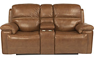 Flexsteel Fenwick Leather Power Reclining Console Loveseat