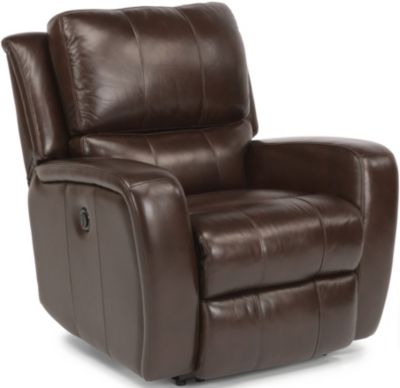 Flexsteel Hammond Brown Leather Power Glider Recliner