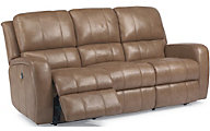 Flexsteel Hammond Tan Leather Power Reclining Sofa