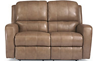 Flexsteel Hammond Tan Leather Power Reclining Loveseat
