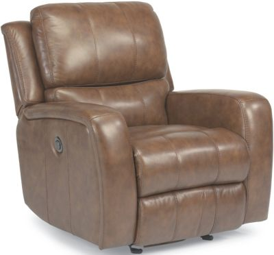 Flexsteel Hammond Tan Leather Power Glider Recliner