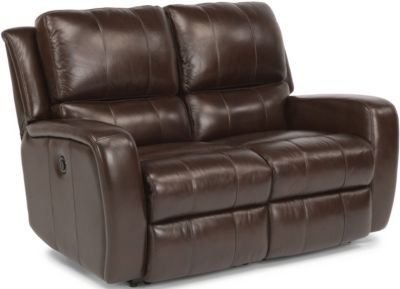 Flexsteel Hammond Brown Leather Power Reclining Loveseat