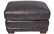 Flexsteel Chandler 100% Leather Gray Ottoman