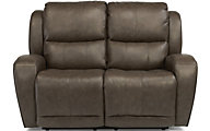 Flexsteel Chaz Leather Power Recline Loveseat