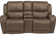 Flexsteel Chaz Leather Power Recline Console Loveseat