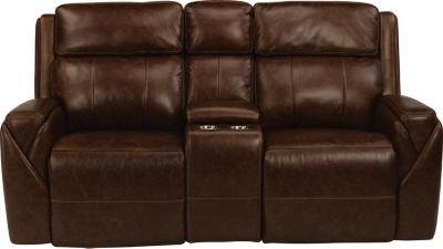 Flexsteel Zara Leather Power Console Loveseat