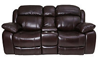 Flexsteel Como Leather Power Motion Console Loveseat
