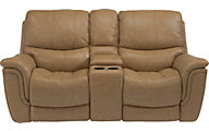 Flexsteel Coco Leather Power Reclining Console Loveseat