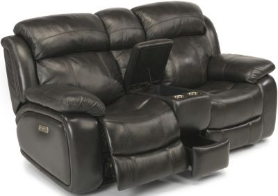 Flexsteel Como Leather Power Reclining Console Loveseat