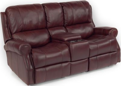 Flexsteel Miles Leather Power Reclining Console Loveseat