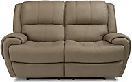 Flexsteel Nance Leather Power Reclining Loveseat