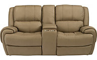 Flexsteel Nance Leather Power Reclining Loveseat w/Console