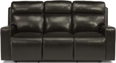 Flexsteel Niko Leather Power Reclining Sofa w/Pwr Headrest