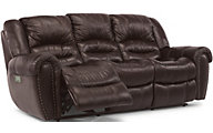 Flexsteel Crosstown Leather Sofa Power Recline & Headrest