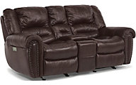 Flexsteel Crosstown Leather Loveseat Power Recline/Headrest