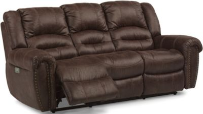 Flexsteel Downtown Power Recline Sofa w/Power Headrest
