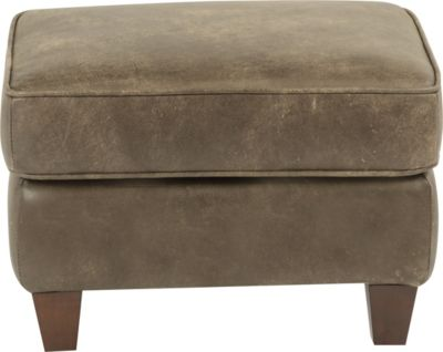Flexsteel Kingston Gray 100% Leather Ottoman