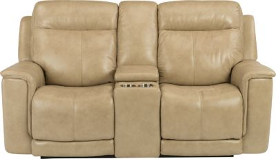 Flexsteel Miller Power Recline Leather Console Loveseat
