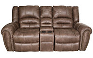 Flexsteel Downtown Rocking Reclining Loveseat with Console