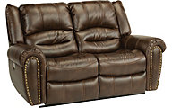 Flexsteel Downtown Power Reclining Loveseat w/Power Headrest