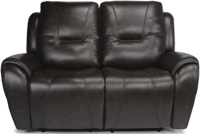 Flexsteel Trip Leather Power Headrest Loveseat