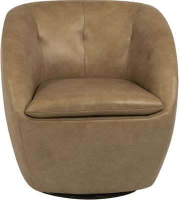 Flexsteel Wade Beige 100% Leather Swivel Chair