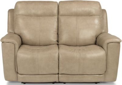 Flexsteel Miller Taupe Leather Power Motion Loveseat