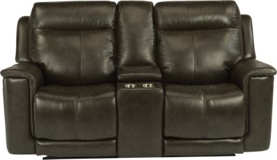 Flexsteel Miller Gray Leather Power Motion Loveseat